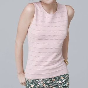 WHBM Pointelle Tank Top in Pale Wisteria